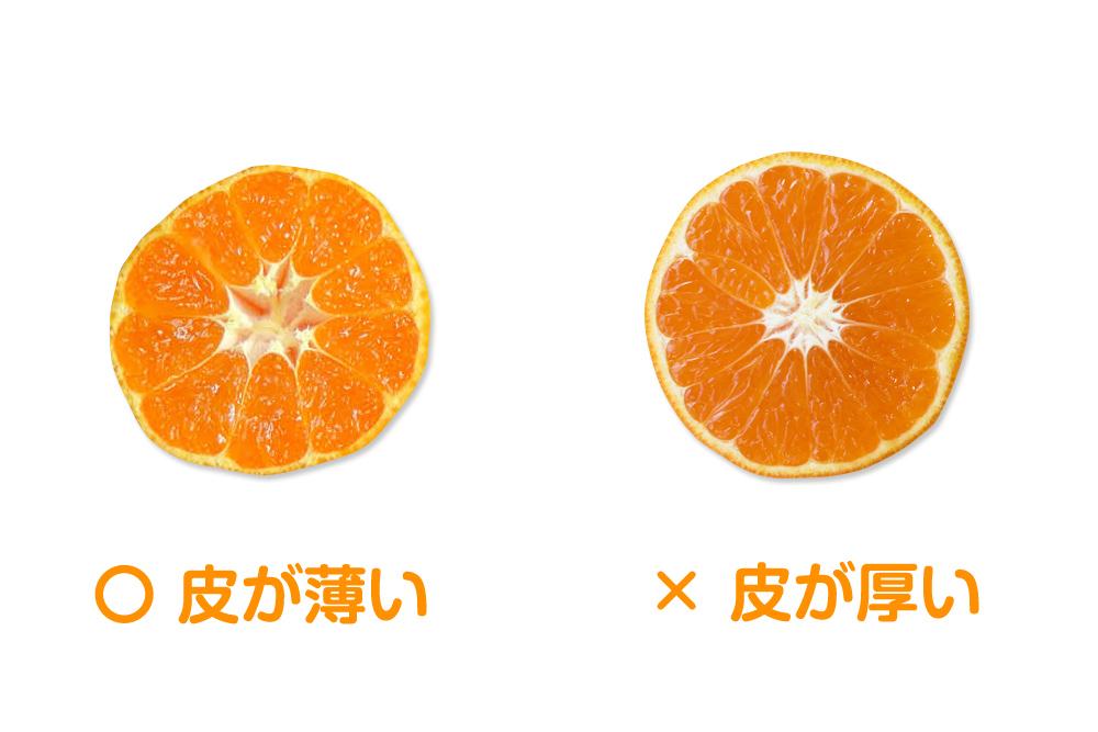 果皮の薄さで見分ける